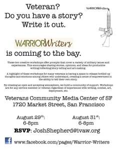 Warrior Writers, August 29 & 31, 6-8pm, VCMC